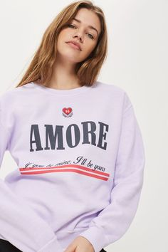 Embroidered 'Amore' Sweat Top