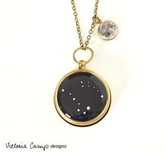 Stars and Moon Working Compass and Locket Necklace - Tiny Moon Locket and Personalized Constellation Compass, Custom Zodiac  Jewelry. $45.00, via Etsy.