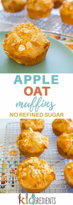 Apple oat muffins, this refined sugar free recipe is great in the freezer, lunchbox and fab as a grab and go breakfast! #kidsfood #healthykids #refinedsugarfree #muffins #recipe via @kidgredients