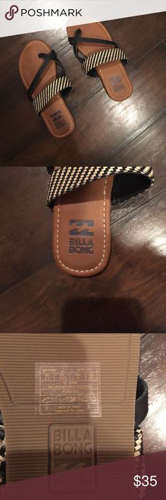 billabong sandals! cute and comfy NEVER WORN!! billabong sandals! sadly they are the wrong size for me :(. price flexible! accepting most offers! ships same or next day!! comment any questions you have :) Billabong Shoes Sandals