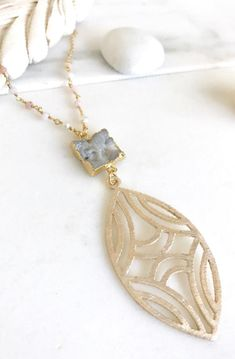 Long Druzy Necklace. Grey