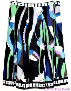 Elie Tahari Skirt Cotton Floral Abstract Lined Side Zip Blue Green Purple 4 #ElieTahari #ALine