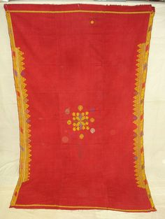 664 Antique Rajasthan Wedding Shawl double sided embroidery - Visual Feast on HTTP://WOVENSOULS.COM #style #accent #artforsale #gallery #antiqueindiantextiles