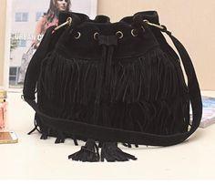 Womens-shoulder-bags-Fringed-bag-Patent-leather-Handbag-black-brown-apricot-D391