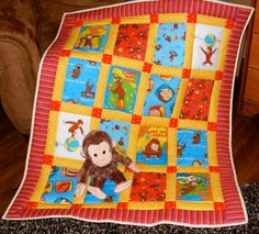 Curious George Fabric Quilt w/ Curious George Stuffed Animal
