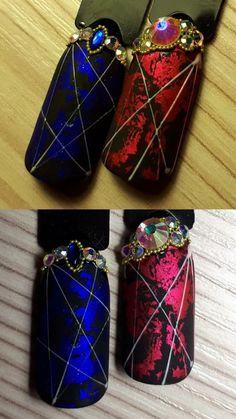 @pelikh_ ideas nails Accent Nail Designs, Cool Nail Designs, Foil Nail Art, Foil Nails, Gem Nails, Bling Nails, Sculpted Gel Nails, Nail Techniques, Super Cute Nails