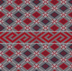 Great geometric pattern in gray and red.