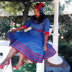 Top Shweshwe dresses for African Women 2019 - Reny styles : Top Shweshwe dresses for African Women 2019 - Reny styles African Maxi Dresses, Latest African Fashion Dresses, African Dresses For Women, African Women, Sotho Traditional Dresses, South African Traditional Dresses, Traditional Outfits, Xhosa Attire, African Attire
