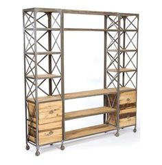 Trenton Reclaimed Wood Steel Large Entertainment Center