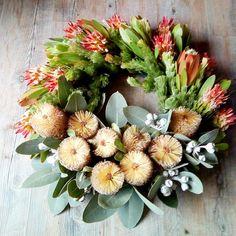 Banksia and memetes floral wreath Flower Wreaths, Floral Wreath, Flower Farm, Growing Flowers, Nativity, Flower Arrangements, Bouquet, Create, Decor