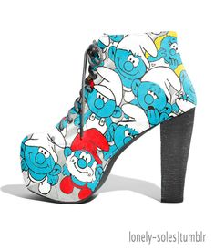 Amazing shoes for Smurfettes! Shoe Boots, Ankle Boots, Shoes Heels, Pumps, Shoe Bag, Dream Shoes, Crazy Shoes, Me Too Shoes, Red Stiletto Heels