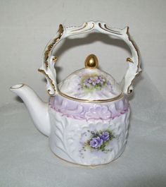 Teapot Small Porcelain China White Gold Trim Violets Purple Ornate Top Handle
