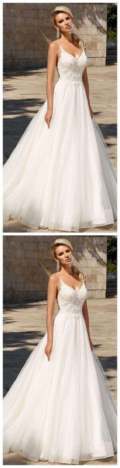Deep V Neck Weeding Dress, Strap Bride Dress,Long Weeding Dress on Luulla Wedding Dress Trends, Dream Wedding Dresses, Bridal Dresses, Bridesmaid Dresses, Prom Dresses, Music Dress, The Dress, Dress Long, Weeding Dress
