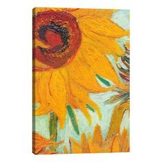 """""""Twelve Sunflowers"""" by Vincent Van Gogh Painting Print on Wrapped Canvas"""
