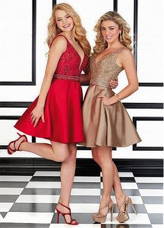 Fabulous Tulle & Satin V-Neck A-Line Short Homecoming Dresses With Beads & Rhinestones