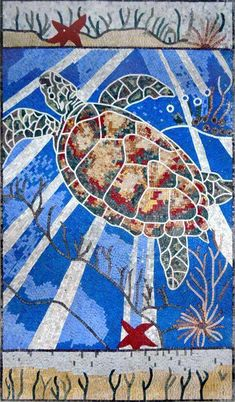 Awesome Colorful Sea Turtle Mosaic Art