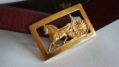 Celine belt carriage Paris vintage burgundy belt gold buckle
