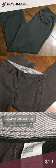 DOCKERS curvy cut pants Dark mossy green- brown pants by DOCKERS- great used condition ( except for some wear to he back heel- shown in pics) curvy cut- mid rise Dockers Pants
