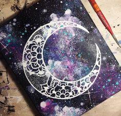 art, creative, galaxy, moon, painting