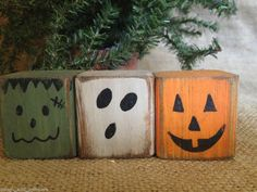 Primitive Halloween Monster Pumpkin Ghost Convo Shelf Sitter Cube Block Set  #NaivePrimitive #DoughandSplinters