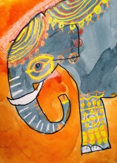 Drawing just the front of an elephant lets students concentrate on the decorations in this watercolor resist project. #elephant