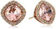 Rose Gold Plated Sterling Silver Swarovski Elements Crystal Morganite Cushion-Cut Halo Stud Earrings