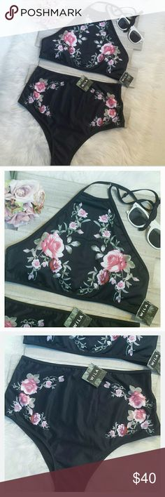 """Wila """"Black Floral"""" Two Piece Bathing Suit Wila """"Black Floral"""" Two Piece Bathing Suit size medium. Fits 6-8. Beautiful NWT and pantie liner. Price is firm unless bundled! WILA Swim Bikinis"""