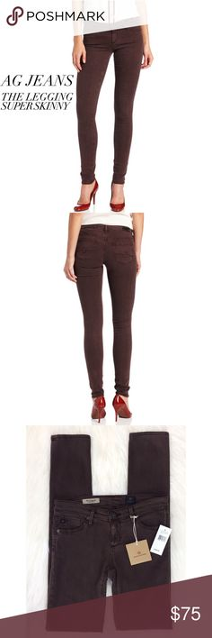 """AG Jeans The Legging Super Skinny • AG Jeans • {The Legging Super Skinny}  DETAILS // AG's signature skinny """"the Legging"""" in a unique faded plum color that offers a fun update to these chic, versatile legging jeans. Features a super skinny fitted leg for shape enhancing style  NWT // Brand New WASH // Sulfur Faded Plum MATERIALS // 55% Cotton, 42% Tencel, 3% Polyurethane  STYLE // CTL 1288-SUL-FPL  MEASUREMENTS // Flat Waist: 13.25"""" Inseam: 30"""" Rise: 6.5"""" Leg Opening: 5"""" AG Adriano…"""