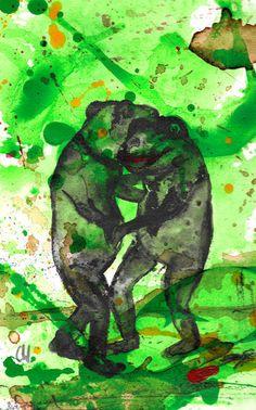 'Tanzende Jungs / Frösche, frog' von Conny Wachsmann bei artflakes.com als Poster oder Kunstdruck $15.24