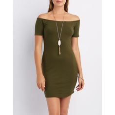 Charlotte Russe Off-The-Shoulder Bodycon Dress ($20) ❤ liked on Polyvore featuring dresses, olive, off the shoulder dress, olive green dress, olive green bodycon dress, bodycon wrap dress and olive dress