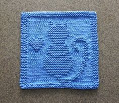 CAT & HEART Knit Dishcloth Hand Knitted Unique by AuntSusansCloset