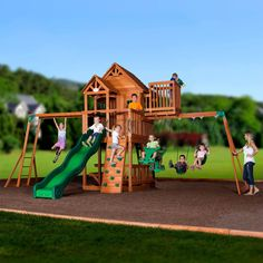 Skyfort II Wooden Swing Set. This outdoor playset will be the kids' favorite, with its raised clubhouse play fort, wooden roof, gabled entry way and balcony. From the crow's nest, they'll cast a keen eye to the horizon, then race to the monkey bars and swing set on its three-position swing beam. A solid rock wall and standard ladder will give them healthy climbing fun while a 10' wave slide will zoom them down to start all over again!  PROFESSIONAL ASSEMBLY AVAILABLE!