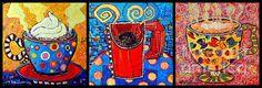 Coffee Cups Triptych by Ana Maria Edulescu
