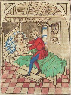 Washing bathing Antonius <von Pforr> Buch der Beispiele — Schwaben, um 1480/1490 Cod. Pal. germ. 85 Folio 128r