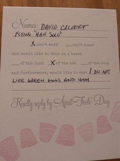 responding to wedding rsvp cards
