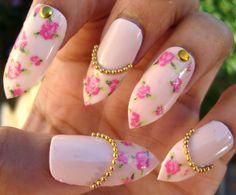 Gyaru-Inspired Vintage Rose Stiletto Nails