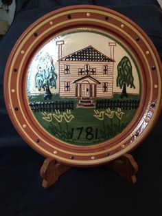 PA Dutch Redware Pottery FOLK ART Colonial House~ Artist signed & dated 1987