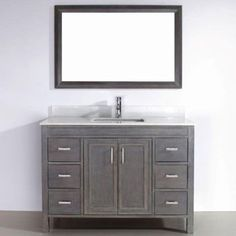 "Corniche 48"" French Gray Single Sink Vanity By Studio Bathe"