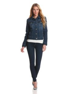 Liverpool Jeans Company Women's Perfect Denim Jacket, Americana Wash, X-Large The denim jacket from the blue jay way collection in americana wash premium denim. Classic button-front, four-pocket style with contrast double stitching. Signature Liverpool hardware and British invasion lyrics printed on pocket linings. Hang dry to maintain elasticity and fit.