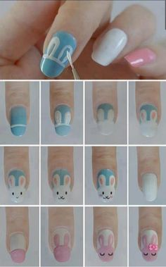 Adorable Honey Bunny Nails In Baby Blue & Pink