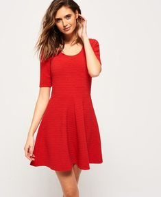 Shop Superdry Womens Wave Textured Skater Dress in Flare Red. Buy now with free delivery from the Official Superdry Store. Red Skater Dress, Skater Dresses, Fabric Material, Short Sleeve Dresses, Wave, Outfits, Clothes, Collection, Designer Clothing
