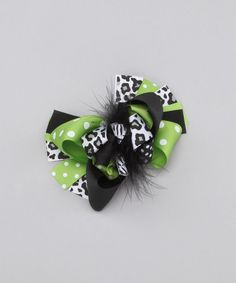 Take a look at this Green & Black Bow Clip by Royal Baby by Royal Gem Clothing on #zulily today!