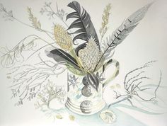 Hearld Mug with Teasels - watercolour drawing by Angie Lewin - www.angielewin.co.uk