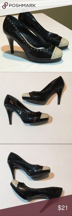 White House Black Market Platform Heels These shoes!!! They are Black and Tan/beige. Gently used - a few scuffs from regular wear - but in overall good condition. Show the world that you are ready for whatever it can dish out in these gorgeous beauties! Smoke free, pet friendly. Shoes Heels