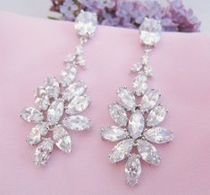 Crystal Bridal Earrings Bridal Jewelry Crystal Bride Earrings Weddings by CherryHillsBridal, $54.00 USD