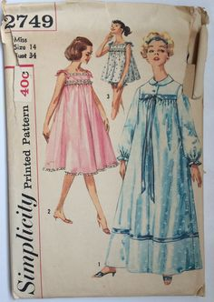 Vintage 1950's Night Gown Dress Negligee Lingerie by SewPatterns