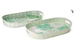 S/2 Asst Patterned Tin Oval Trays, Green on OneKingsLane.com