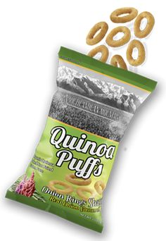 this real onion flavored Quinoa Puffs have the flavor of freshly picked onions.  These snacks are made with natural products no artificial colors or flavors added.