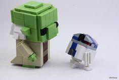 Blockheads Yoda & Artoo by Seb Toutouille Lego Craft, Cool Lego, Awesome Lego, Lego Mecha, Lego Design, Lego Projects, Star Wars Humor, Lego Instructions, Lego Building