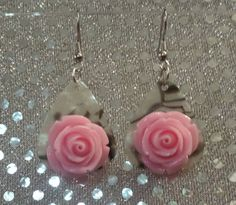 Guitar Pick Jewelry by Betsy's Jewelry - Guitar Pick Earrings - Pink Roses - Floral - Nature - Garden - Abalone Style by BetsysJewelry on Etsy